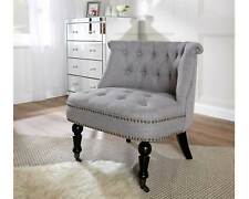 Grey Linen Occasional Accent Chair Button Back Fabric Feature Chair With Studs