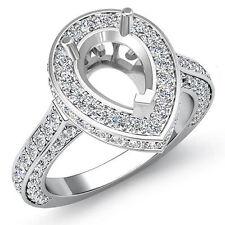 Diamond Engagement Filigree Ring Pear Semi Mount Halo Pave Set 14k W Gold 1.6Ct