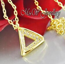 Gold Plated 925 Silver Chain Necklace Pendant TRIANGLE WITH ZIRCONIA 9mm