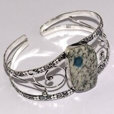 Plated Cuff Bangle , Ab176 K2 Blue Azurite 925 Silver