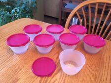 New TUPPERWARE Set of 8 Refrigerator Bowls ~ 14-oz /1 3/4-cups ~ Vineyard Purple