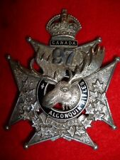 Canadian Militia - 97th Algonquin Rifles Officer's Helmet Plate Badge, Post 1904