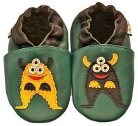 Freeship Littleoneshoes Soft Sole Leather Baby Shoes Infant MonsterGreen 18-24M