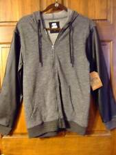 NWT ~ ROUTE 66 gray knit black faux leather full-zip hoodie jacket ~ mens S