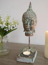 RUSTIC STYLE BUDDHA HEAD TEALIGHT HOLDER STATUE GARDEN INDOORS