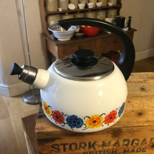 Vintage White Enamel Stove-Top Kettle – Colourful Flowers – Great Condition! –