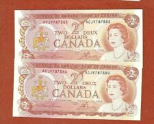 2 1974 Consecutive Serial Number Two Dollar Bank Notes Gem Uncirculated G196