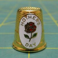 Vintage Lillian Vernon Mothers Day Gold Plated Enameled Thimble
