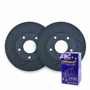 DIMP SLOTTED REAR DISC BRAKE ROTORS + PADS for Subaru Forester GT 12/2000-7/2002