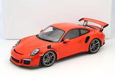 Porsche 911 (991) gt3 RS lava naranja con vitrina 1:12 Spark
