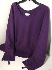 New Coldwater Creek Medium Women Top Sweater Blouse shirt Purple Stretch cotton