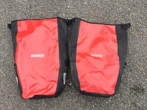Ortlieb Red Waterproof Cycling Bike Pannier Bags Pair
