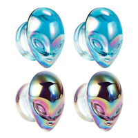 Colorful of Glass Aliens Ear Gauges and Body Piercing Jewelry Ear Plugs 2pcs