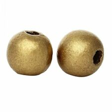 20 perles en bois 10mm couleur Doré 10 mm  creation colier, attache tetine dore