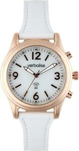 Verbalise Ladies Talking Watch with White Leather Pin and Tuck Strap VLRC-200LW