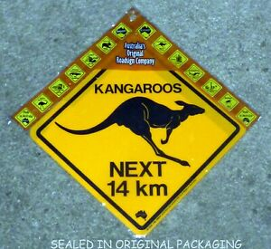 The Great Australian Road Sign Crossing Kangaroos NEXT 14 KM,1985 NEW SEALED