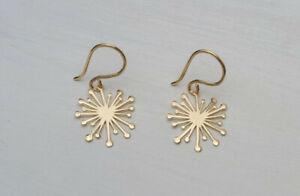 New handmade solid 14ct solid gold Starburst/Dandelion drop earrings. RRP £225