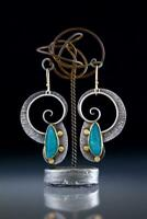 Vintage 925 Silver Turquoise Hoop Earrings for Women Jewelry Bridal A Pair/set