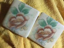 Vintage Porclein Painted Pierced Earrings-30