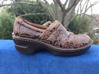 BOC Born Concept Clogs Wedges High Heels Mules LEATHER Shoes Womens Sz 7.5 👠