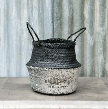 Medium Silver & Black Sequin Belly Basket Seagrass Planter Toy Laundry Basket