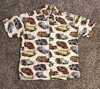 Vtg Kahala Mens Hawaiian Shirt Large 100% Rayon Classic Cars Made In USA