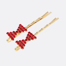 Bobby Pin Rhinestone Crystal Hair Clip Hairpin Bow Wedding Bridal RED 11-5