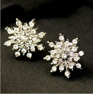Women's Silver Rhinestone Crystal Snowflake Flower Stud Earring Jewelry WS