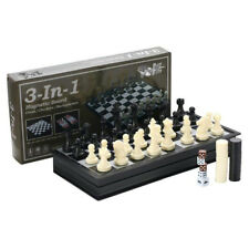 3-in-1 Folding Magnetic Travel Chess & Checkers & Backgammon Chess Set by TOYZ