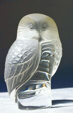 LALIQUE CHOUETTE BARN OWL GLASS PAPERWEIGHT desk ornament sometime CarMascot