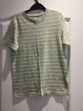 BNWOT BOYS ORGANIC GREY & NEON GREEN STRIPED T-SHIRT BY H AGE 8-10 YEARS 134-140