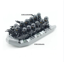 13pcs minifigures soldiers SWAT( green black ) WeaponS & 2 Boats lego moc