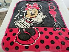 """New listing New! Disney Minnie Mouse polka dots Baby blanket toddler Girls 43""""x53"""" Plush"""