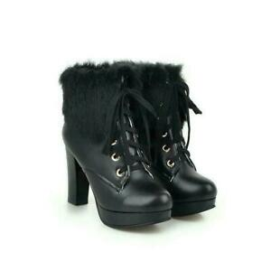 Women's High Block Heels Platform Fur Trim Shoes Lace Up Grace Fur Ankle Boots