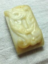 New listing Antique Chinese Qing Or Ming Nephrite Jade Sword Ornament Carving Beast Dragon