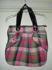 Women's Plaid Cloth Shoulder Bag Faux Patent Leather Strap
