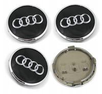 Audi 4 x 61mm Alufelge Nabenkappen Nabendeckel Satz 8W0601170 Schwarz