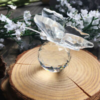 Clear Crystal Butterfly Figurine Paperweight Wedding Decor Ornament Gifts Box