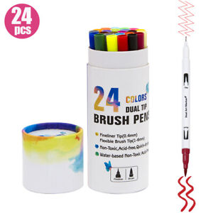 24 colori Pennarelli a doppia punta Pennello flessibile e 0.4mm Pennarelli F0J7