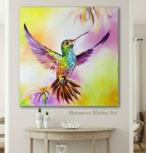 Hummingbird Oil Painting Hummingbird Impasto Art Flying bird Bird of paradise