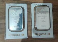 DEGUSSA Feinsilber Barren eingeschweißt 2 x 100gr. 999er Silber  NEU