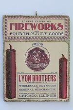 1903 Lyon Bros Fireworks  * Patriotic Ornament * Vtg Post Card Image * Glittered
