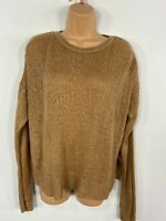 WOMENS NEW LOOK TAN BROWN LONG SLEEVE KNITTED CASUAL JUMPER PULL OVER MEDIUM M