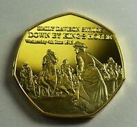 SUFFRAGETTE DAVISON KILLED 1913 NEWSPAPER Collectors Token/Medal 24ct Gold.
