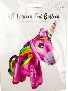 3D Unicorn Standing Full Body Foil Birthday Party Girls Balloon Pink & Rainbow