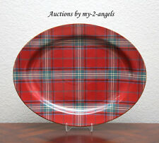 NEW Williams-Sonoma Christmas Red TARTAN OVAL PLATTER Scottish Plaid Serveware