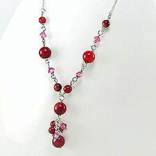 RED CORAL AND .925 STERLING SILVER  16 INCH LENGTH NECKLACE