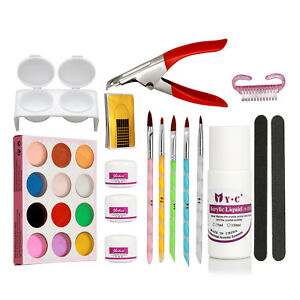 Nail Art Kit Set Acrylic Powder Clearser Plus Brush Sanding File Tools Pro Sets