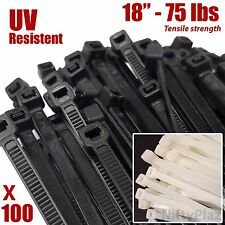 18 Inch Cable Ties - 100 Pack - 75 lbs UV Weather Resistant Nylon Wrap Zip Ties