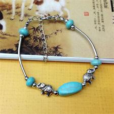 EPIC FASHION- Tibet Silver Pendant Turquoise- Elephant Bead Bracelet